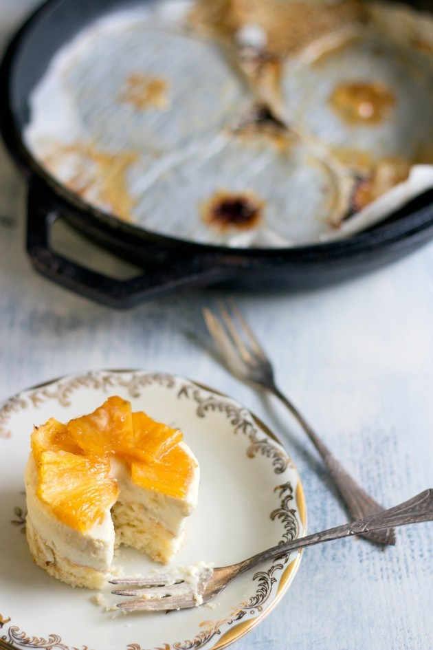 small coconut pineapple cake with grilled pineapple